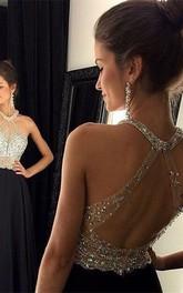 Chic Crystals Beadings Chiffon Prom Dress 2018 A-line Halter Sleeveless