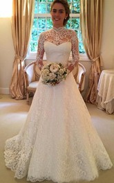 A-Line Short High Neck Long Sleeve Bell Illusion Bow Appliques Tiers Illusion Sweep Train Backless Illusion Lace Dress