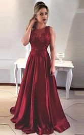 A-Line Satin Lace Jewel Sleeveless Zipper Low-V Back Dress