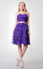Cute Sleeveless Ruched Tiered Short Chiffon Dress With Sash