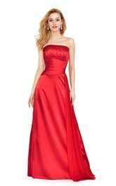 Strapless A-line Long Gown With Pleats