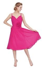 Sleeveless Tea-length Chiffon Dress With Flower