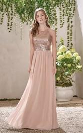 Halter V-neck A-line Floor-length Sleeveless Chiffon Sequins Bridesmaid Dress with Zipper Back