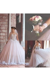 Gorgeous Long Sleeve Beadings Wedding Dresses 2018 Tulle Ball Gown