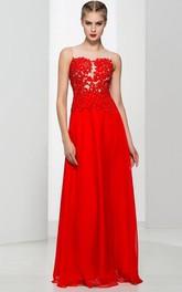 A-Line Appliques Beading Long Prom Dress