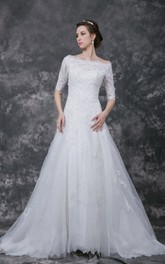 Half Sleeve Bateau Neck A-line Lace Gown With Beading