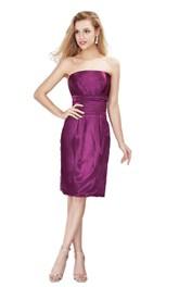 Simple Strapless Knee-length Satin Dress
