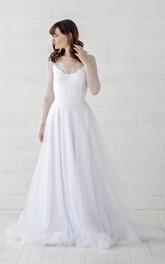 Long Sleeve Button Back Scalloped Illusion Lace Tulle Wedding Dress