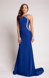 Sheath Scoop Long Sleeveless Jersey Prom Dress With Backless Style And Brush Train