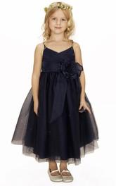 Flower Girl Spaghetti Straps Surplice Neck Tulle Ball Gown