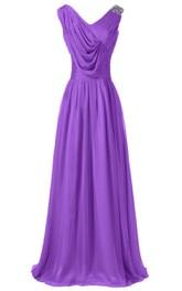 Sleeveless V-neck Long Dress With Draped Bodice