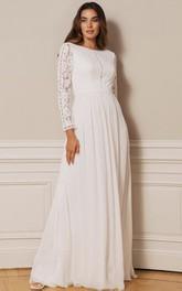Vintage A Line Bateau Chiffon Lace Floor-length Low-V Back Wedding Dress