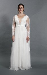 Deep-V Neck Long Sleeve Lace and Tulle A-Line Dress With Bow Sash