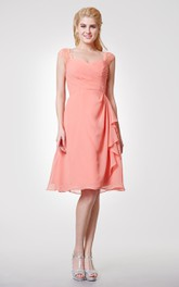 Lace Cap-sleeved Chiffon Knee Length Dress With Side Draping