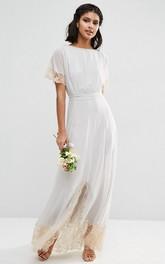 Sheath Ankle-Length Short Sleeve Scoop Neck Lace Chiffon Bridesmaid Dress