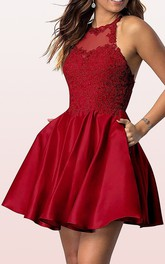 Satin Lace Mini A Line Sleeveless Simple Homecoming Dress with Appliques