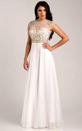 Chiffon A-Line Cap Sleeve Prom Dress With Metallic Bodice