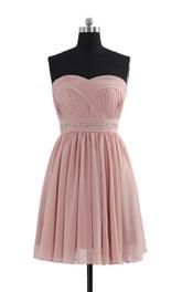 Sweetheart A-line Short Dress With Beaded Waistline