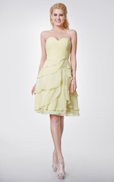 Sweetheart Chiffon Knee Length Dress With Layers
