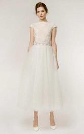 A-Line Tea-Length Cap Sleeve Lace Tulle Wedding Dress