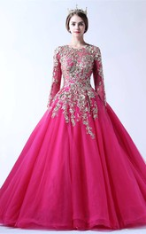 Long Lace Sleeve Jewel Neck Tulle Ball Gown With Keyhole Back