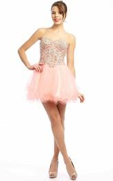 A Line Sweetheart Short Mini Beaded Sleeveless Tulle Prom Dress With Ruffles