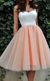 A-line Ball Gown Sleeveless Satin Organza Straps Tea-length Homecoming Dress