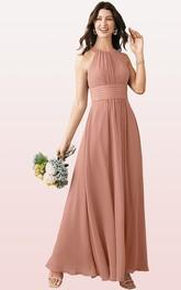 Elegant Halter A Line Sleeveless Ankle-length Chiffon Bridesmaid Dress With Ruching