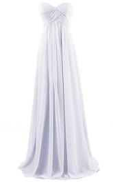 Sweetheart Asymmetrical Ruched Bodice Long Pleated Chiffon Dress