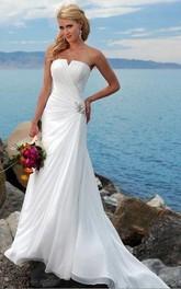 sheath Strapless Chiffon Wedding Dress