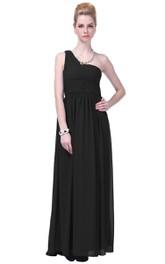 One-shoulder Basque Waist Ruffle Chiffon Dress