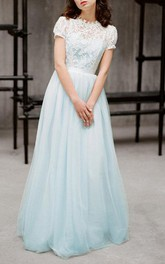 Mini Tulle&Lace&Satin Dress With Button