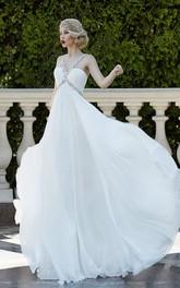 A-Line Maxi Halter Sleeveless Empire Lace-Up Chiffon Dress With Beading