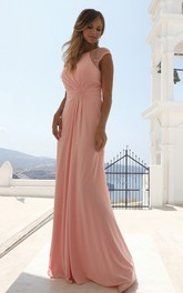 Simple Bateau Chiffon Sheath Short Sleeve Floor-length Formal Dress with Beading