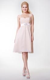 Cute Knee Length Spaghetti Straps Chiffon A-line Dress With Bow