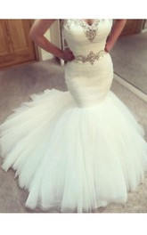 Sexy Sweetheart Sleeveless Country Beads Crystal Waist Tulle Mermaid Wedding Dress