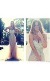 Sheath Tulle Sequins Mermaid Dress with Illusion Style