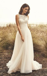 Illusion Button Back Sleeveless Jewel Neckline And Court Train Lace Tulle Wedding Dress
