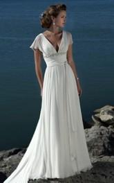 Empire V-neck Court Trains Chiffon Beach Wedding Dresses for Brides