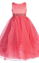 Sleeveless A-line Dress With Ruffles and Sequins