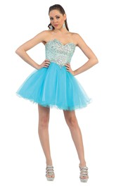 A-Line Short Sweetheart Sleeveless Tulle Backless Dress With Beading