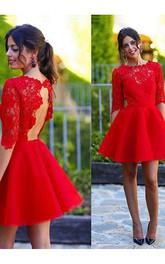 A-line Half Sleeve Satin Lace Jewel Scalloped Keyhole Short Mini Homecoming Dress