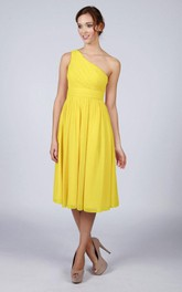 One Shoulder Pleated A-line Chiffon Tea Length Dress Yellow