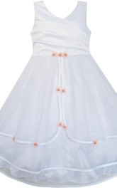 Sleeveless A-line Tiered Dress With Pleats and Flower