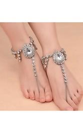 Vintage Ethnic Feng Shui Drop Gem Alloy Anklet
