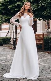 Simple Bateau A Line Floor-length Long Sleeve Wedding Dress
