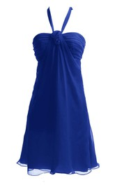 Sleeveless Halter Ruched Bodice Short Chiffon Dress