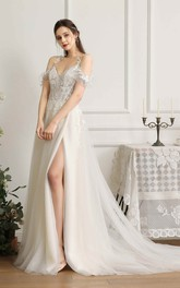 Front Split Sexy Wedding Dress With Straps And Off-the-shoulder sleeves With Boning And Lace Appliques