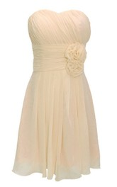 Strapless Empire Mini Dress With Floral Waist