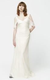 Unique Off The Shoulder V-neck Wedding Dress